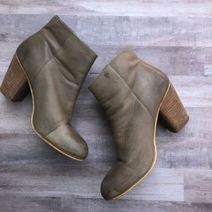 BP Tab Heeled Leather Booties Size